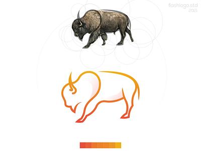 Bisona Logo bison bufallo bull color animals modern minimalist clean minimal simple vector illustration lettering identity brand app logo design branding