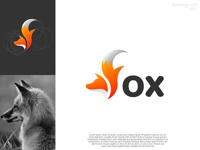 Fox Logo animals fox modern clean minimalist minimal simple vector illustration lettering identity brand app logo design branding