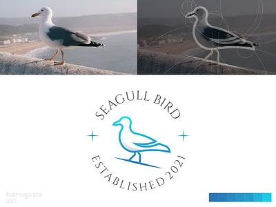 Seagull Logo seagull bird animals elegant modern clean minimalist minimal simple vector illustration lettering identity brand app logo design branding