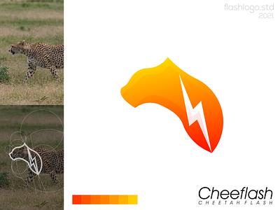 Cheeflash Logo grid color flash cheetah modern clean minimalist minimal simple vector illustration lettering identity brand app logo design branding