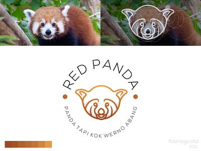Red Panda Logo character cute red panda animals modern clean minimalist minimal simple vector illustration lettering logo identity brand app design branding