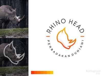 Rhino Head Logo color animals modern clean minimalist minimal simple vector illustration lettering identity brand logo app design branding