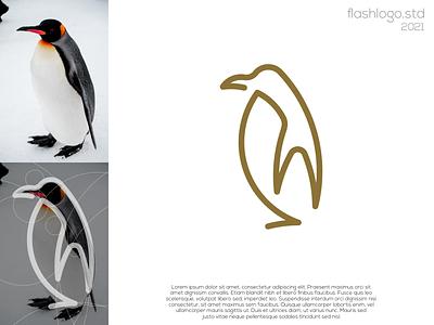 Penguin Logo elegant gold penguins animals clean modern minimalist minimal simple vector illustration lettering logo identity brand app design branding