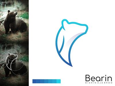 Bearin Logo color bear animals modern clean simple minimalist minimal vector illustration lettering identity brand app logo design branding