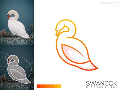 Swancok Logo color elegant goose swan animals grid modern clean minimal simple vector illustration lettering identity brand app logo design branding