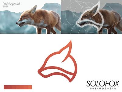 Solofox Logo color fox animals modern grid minimal simple vector illustration lettering identity brand app logo design branding