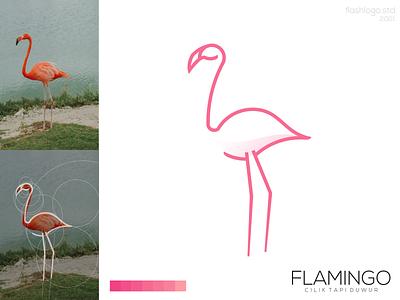 Flamingo Logo flamingo bird animals color elegant modern grid clean minimal simple vector illustration lettering identity brand app logo design branding