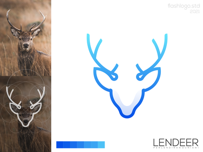Lendeer Logo color grid deer animals modern clean minimal simple vector illustration lettering identity brand app logo design branding