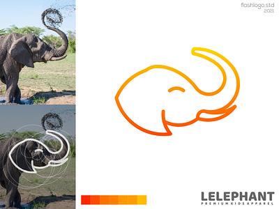 Lelephant Logo gradient playful elephant animals modern grid clean minimal simple vector illustration lettering identity brand app logo design branding