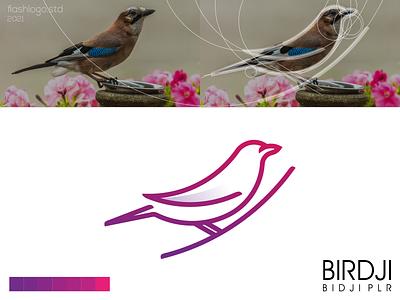 Birdji Logo line minimalist color animals bird grid modern minimal simple clean vector illustration lettering identity brand app logo design branding