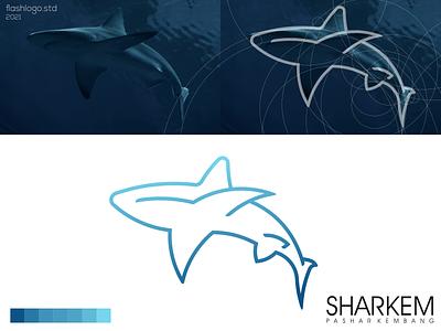 Sharkem Logo sea shark animals line color grid modern clean minimal simple vector illustration lettering identity brand app logo design branding