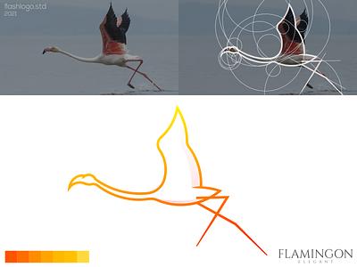 Flamingon Logo flamingo bird animals elegant color clean modern grid minimal simple vector illustration lettering identity brand logo app design branding