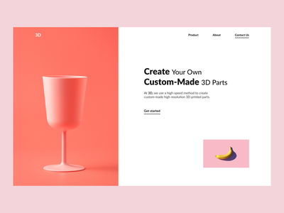 3D ui black white design webdesign minimalistic hero section
