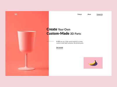 3D - concept 2 ui black white design webdesign minimalistic hero section