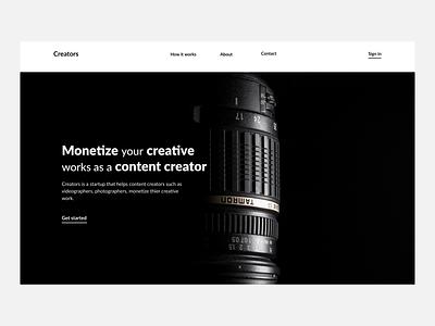Creators minimal ux ui black white design webdesign minimalistic hero section