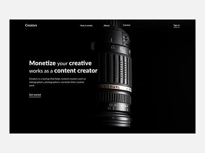 Creators 2 web ux minimal ui design black white webdesign minimalistic hero section