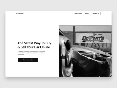 Online Car Dealership Shop website web ux ui minimal black white webdesign minimalistic hero section design