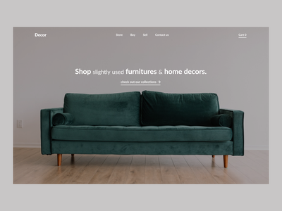 Second-hand Furniture and Decore website website flat minimal black white ui ux webdesign minimalistic hero section design