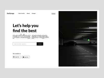 Parking Garage Website flat website minimal ux ui black white webdesign minimalistic hero section design