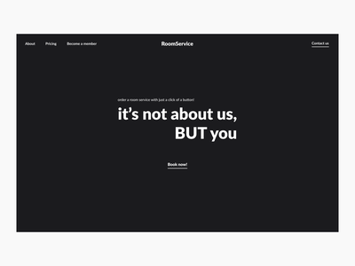 Hotel Service Website ui ux website black white minimalistic webdesign hero section design