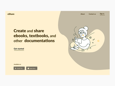 e-sharing Website flat website minimal illustration ux ui webdesign minimalistic hero section design