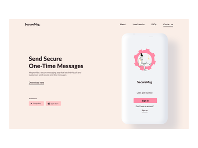 Messaging Web App illustration web flat minimal ux ui website webdesign minimalistic hero section design
