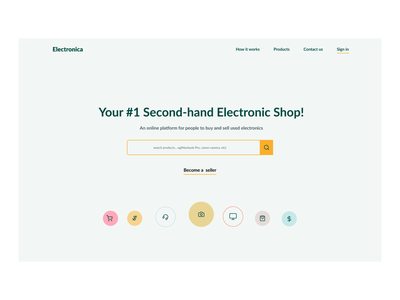 Second-hand Electronic Shop website icons web ecommerce ui ux webdesign minimalistic hero section design