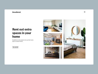 Home Rental Website web black white website ux ui webdesign minimalistic hero section design
