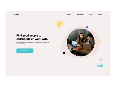 collab dribble minimal website ui ux webdesign minimalistic hero section design