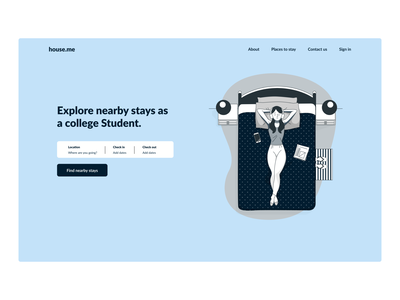 College Housing Website illustration website ux ui webdesign hero section minimalistic design