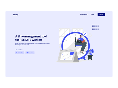 Time Management Web App ui ux website illustration webdesign minimalistic hero section design