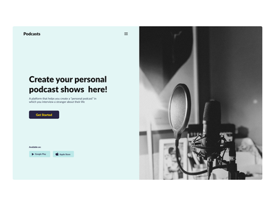 Podcast Website website ux webdesign ui hero section design