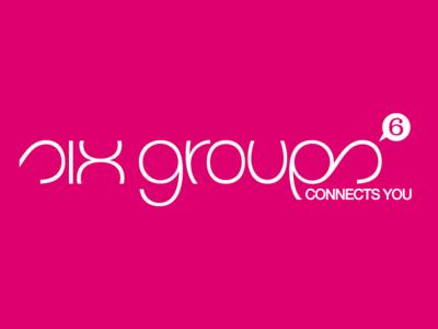 six groups logo, colored, negative