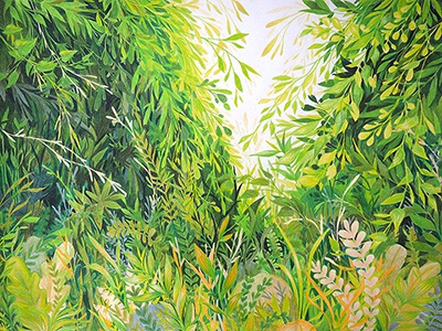 Verdant plants leaves summer green nature botanical colored pencil traditional media traditional illustration drawing