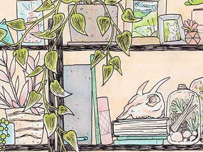 Plant Shelfie II interior still life drawing traditional marker copics ink houseplants plants illustration