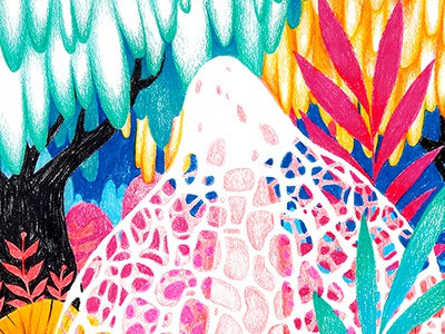 Veiled Mushroom botanical nature fungi mushroom bright neon prismacolor colored pencils illustration