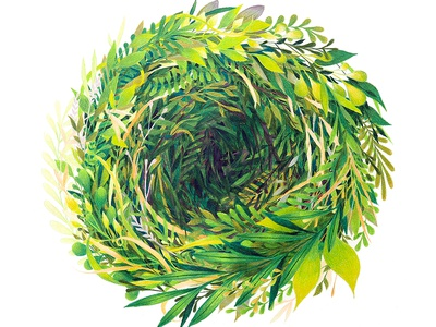 Portal flora plants botanical green foliage nature colored pencil traditional drawing illustration
