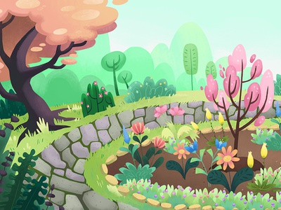 Arboretum Background - Spring plants trees spring seasons garden park outdoor childrens nature kids illustration