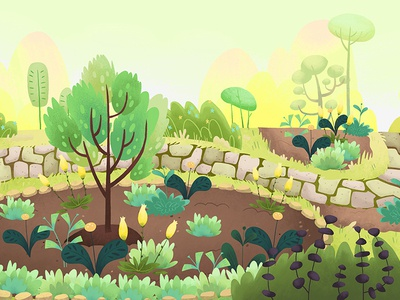 Arboretum - Summer background seasons summer plants childrens nature kids illustration