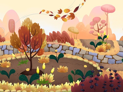 Arboretum - Fall seasons nature park childrens illustration kids background fall autumn