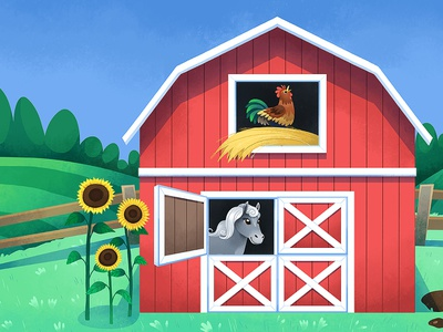 Farm Scene childrens rooster horse sunflowers background barn farmyard farm kids illustration