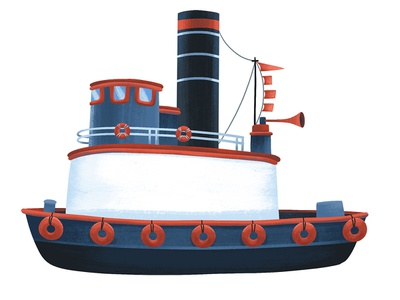 Tugboat educational childrens vehicle tugboat boat illustration