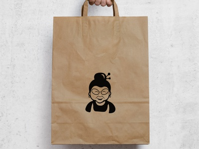 Granny Somjook Logomark granny logo logomark thai bakery logo cookie granny
