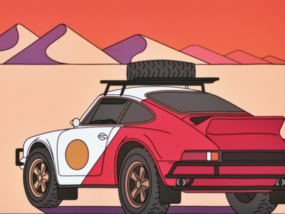 Porsche Safari cigarette safari desert car porsche vector bloodbros illustration