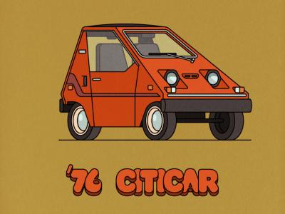 '76 Sebring Citicar vector electric car design adobe illustrator illustration retro car
