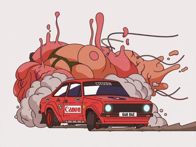 Akira-ri car cartoon anime escort mk2 ford rally akira design illustrator adobe illustrator retro illustration