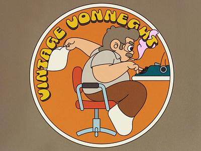 Vintage Vonnegut illustrator adobe illustrator cartoon character writer retro sticker patch illustration roundel author vonnegut