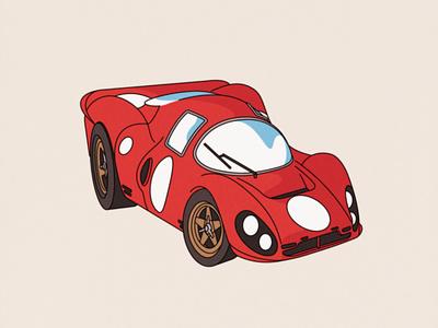 '67 Ferrari P4 80s nintendo japan retro adobe illustrator illustration le mans p4 ferrari car