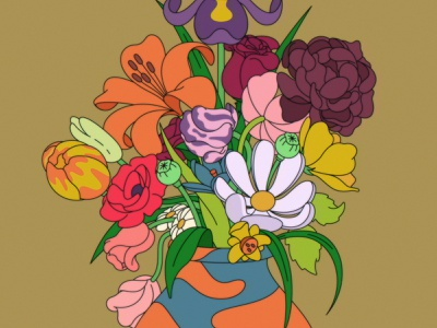 Srsly Flowers still life baroque cartoon vase flowers