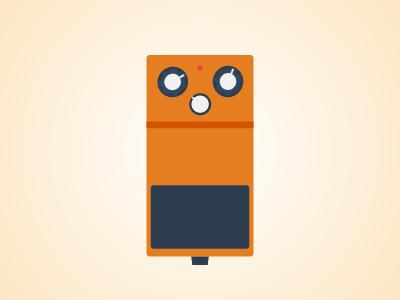 Flat Guitar Pedal - Boss DS1 flat guitar pedal pedalboard vector illustrator music rock